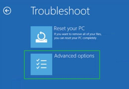 Advanced options in Troubleshoot menu