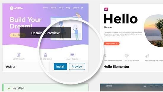 Preview theme in a WordPress blog