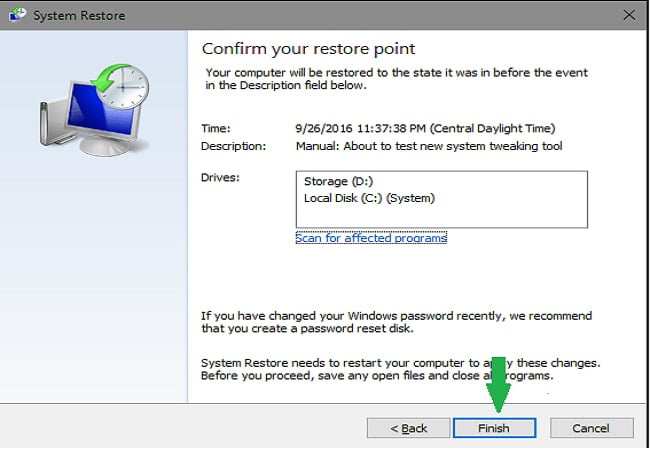 System Restore finish