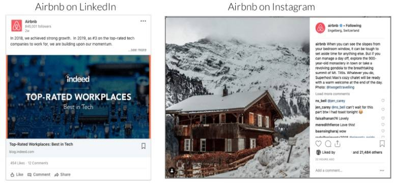 airbnb on Instagram and Linkedin