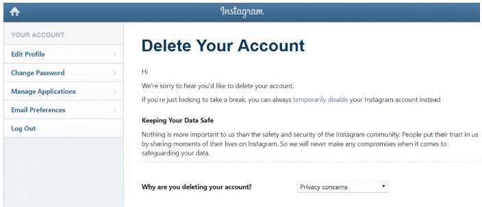Delete Your Account page on Instagram