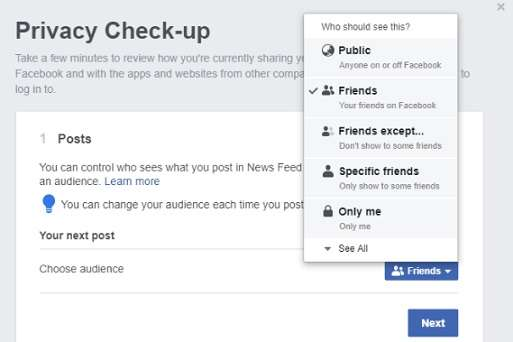 Facebook Privacy check-up available options