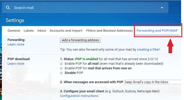 Forwarding and POP or IMAP