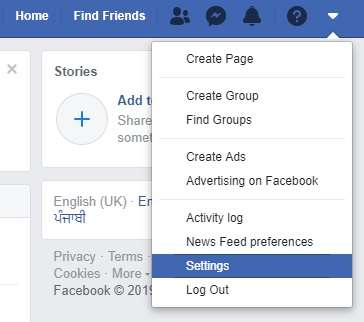 Setting option in Facebook