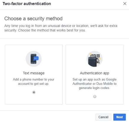 Two-Factor Authentication methods