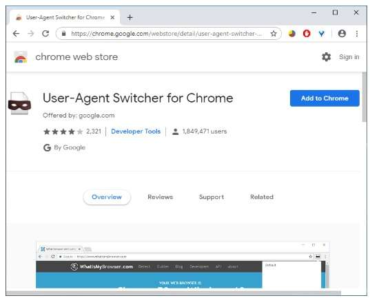 User-Agent Switcher extension