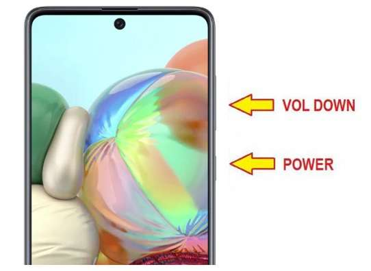 Volume Down button and the Power button of Galaxy Samsung A51