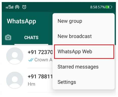 WhatsApp web option in mobile