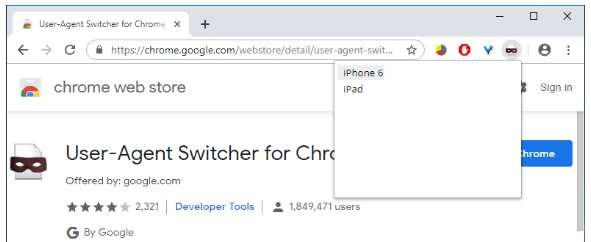 shortcut for the User-Agent Switcher extension