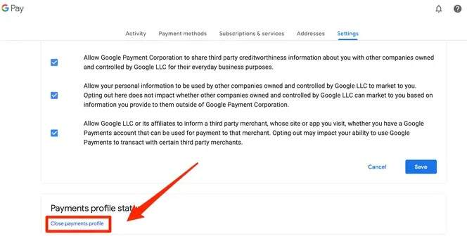 Close payments profile option in Google Pay