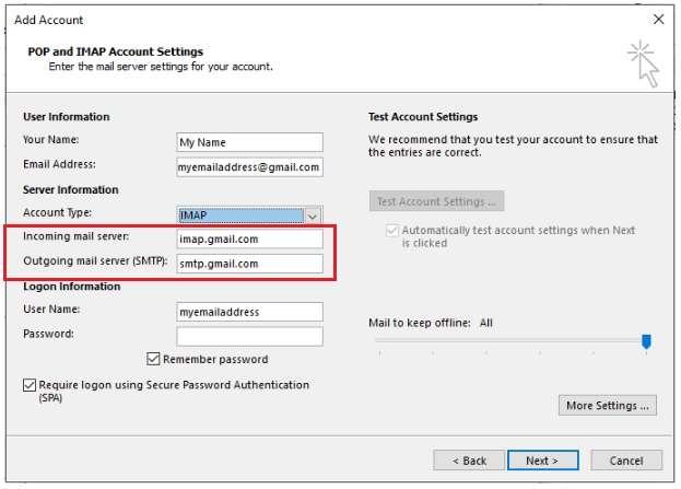 POP or IMAP account settings