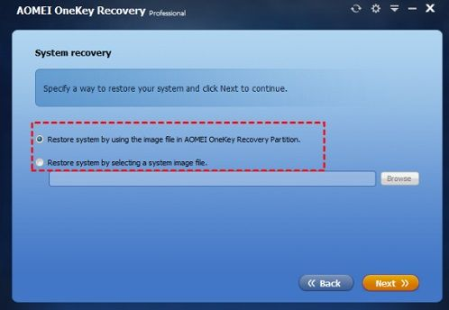 Restore system by using the image file in AOMEI OneKey Recovery Partition