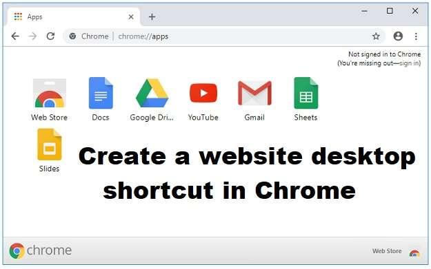 Create a website desktop shortcut in Chrome