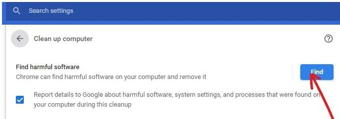 Find harmful software option in Chrome