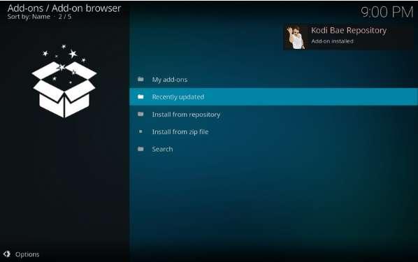 Kodi Bae Repository Add-on installed
