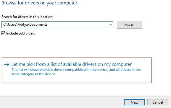 Let me pick from a list of drivers available on my computer