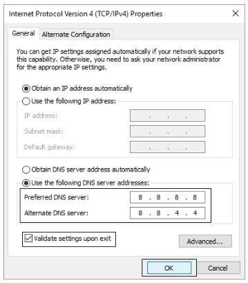 Preferred DNS server- 8.8.8.8
