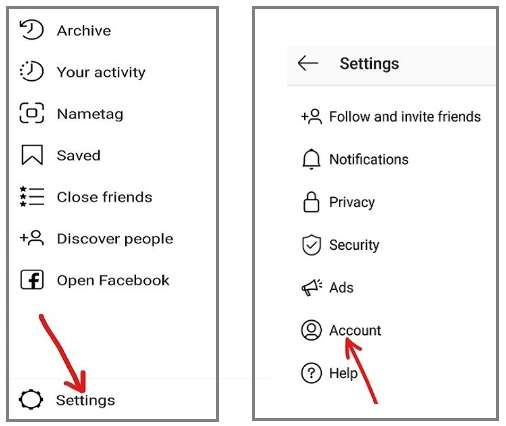 Settings and Account option in Instagram