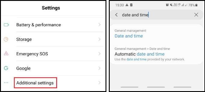additional settings and date and time option in Android