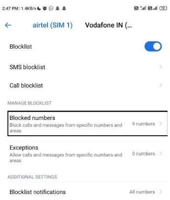 blocked numbers