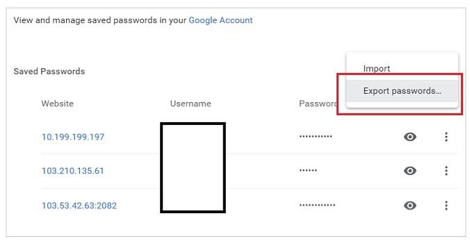 export password in Chrome