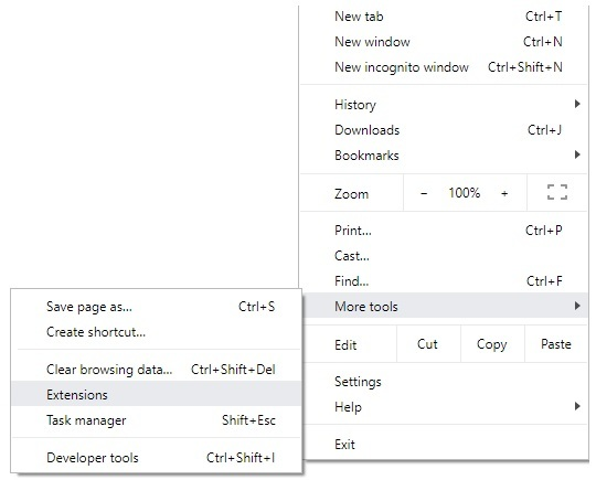 extension option in Chrome
