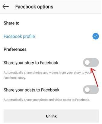 Facebook option in Instagram