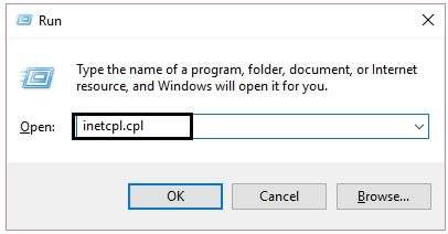 inetcpl.cpl in the run option