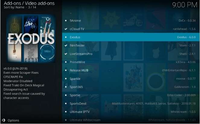 list of available Kodi add-ons