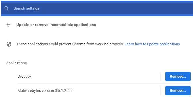 remove apps in chrome