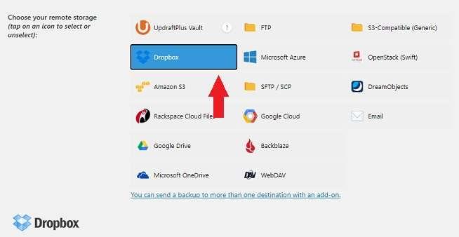 Backup Dropbox in UpdraftPlus