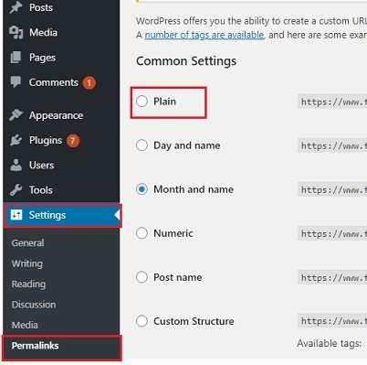 permalink option in WordPress