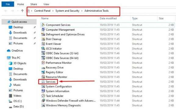 Administrative Tools in Control Panel