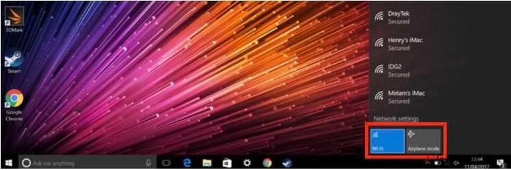 Enable WiFi with the WiFi Icon in Windows Tray