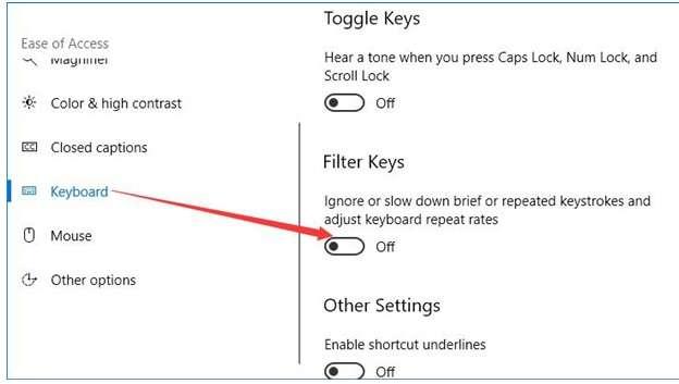 Filter Keys function