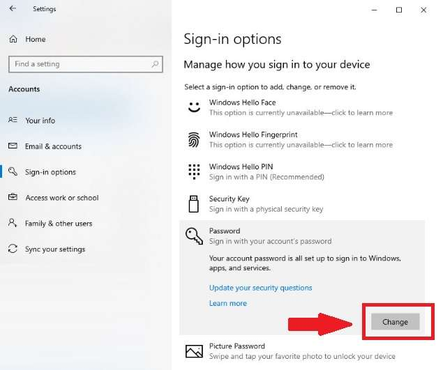 Sign-In Options in Windows 10