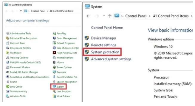 System Protection option