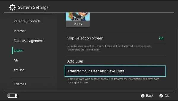 Transfer Your User and Save Data on Nintendo Switch