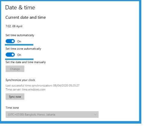 date and time setting in Windows