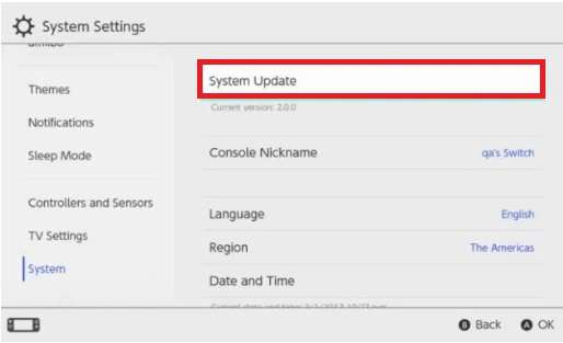 system update on Nintendo Switch