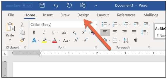 Design tab In Word