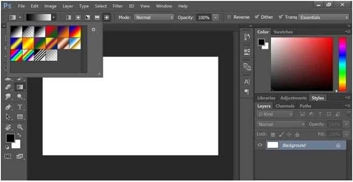 Gradient Tool in Photoshop