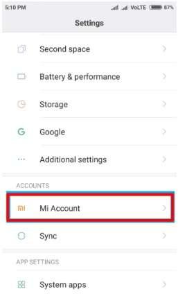 Xiaomi Settings And MI Account