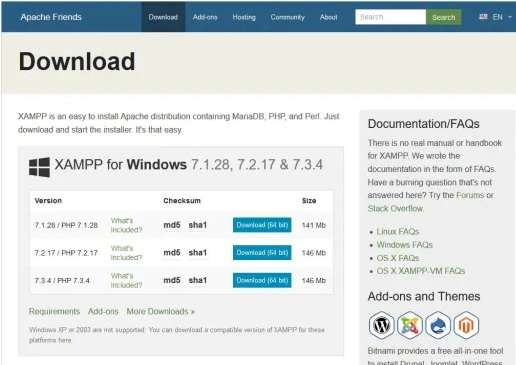 apache friends download page for XAMPP