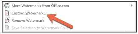 custom watermark In Word