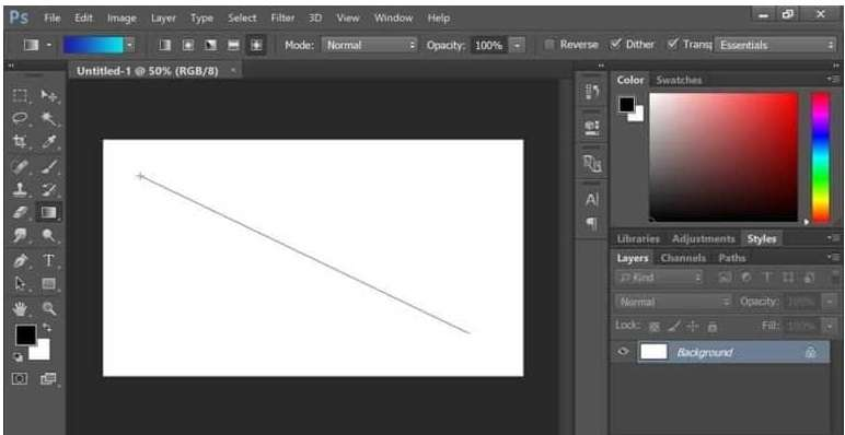 gradient with a diagonal shape in Photoshop