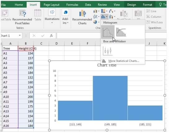 histogram option in Excel