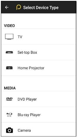 other devices to choose from on Peel remote