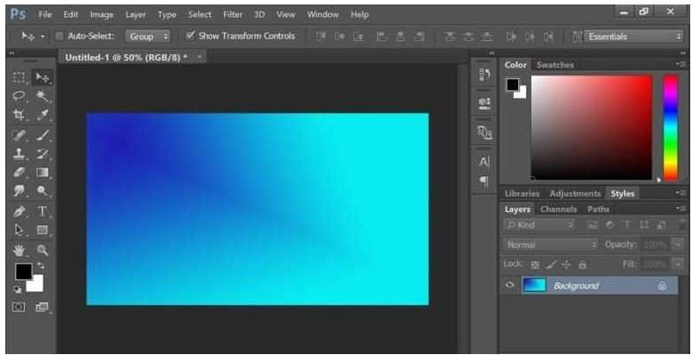output gradient with a diagonal shape in Photoshop