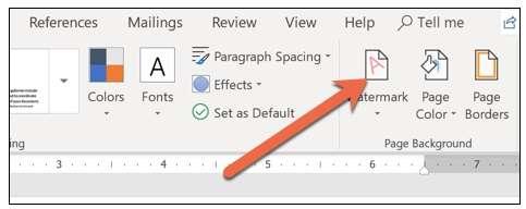 watermark button In Word